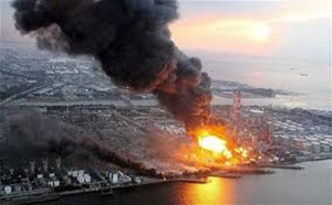 Cosmo oil refinery fire in Chiba. Six workers were injured.