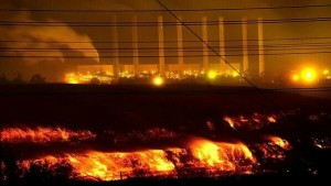 Morwell coal mine disaster at night